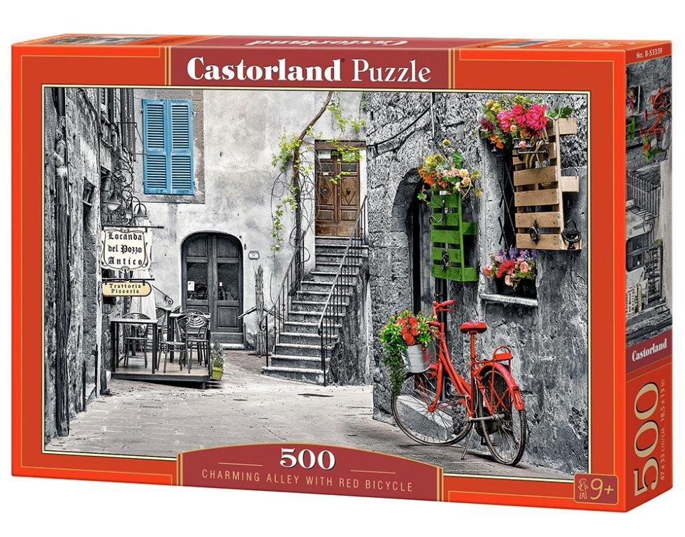 Puzzle Castorland Charming Alley With Red Bicycle 500 dílků