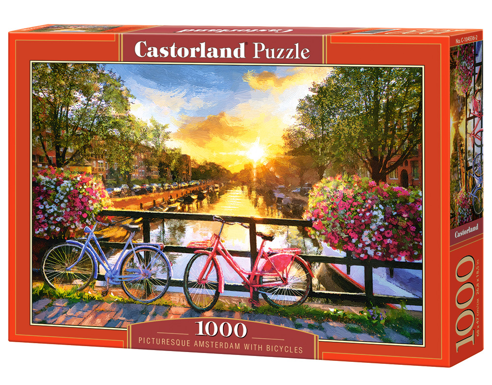 Puzzle Castorland Picturesque Amsterdam with Bicycles 1000 dílků