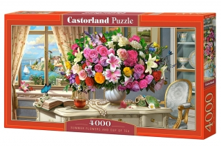 Puzzle Castorland Summer Flowers and Cup of Tea 4000 dílků