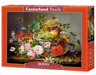 Puzzle Castorland Still Life with Flowers and Fruit Basket 2000 dílků